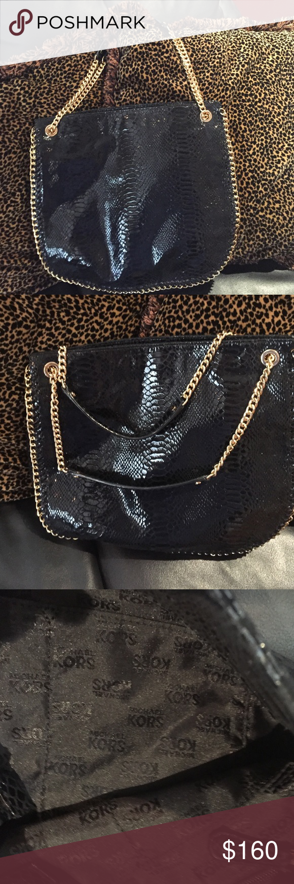MICHAEL KORS BLACK LEATHER WITH GOLD CHAIN TRIM Shoulder bag in black leather, double straps, four open pockets, back zipper and another snap button pocket perfect got cell phone, gently used, clean Michael Kors Bags Shoulder Bags