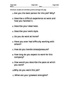 Job Interview Skills - Questions and Worksheet | jess ...