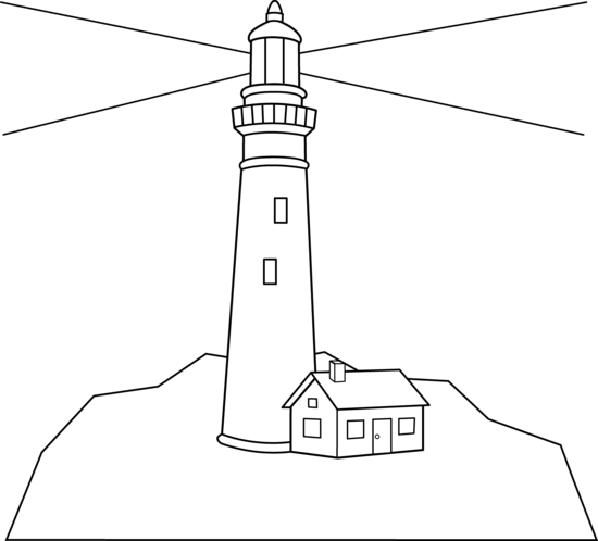 Line Art Lighthouse : Outline of a lighthouse scene coloring page
