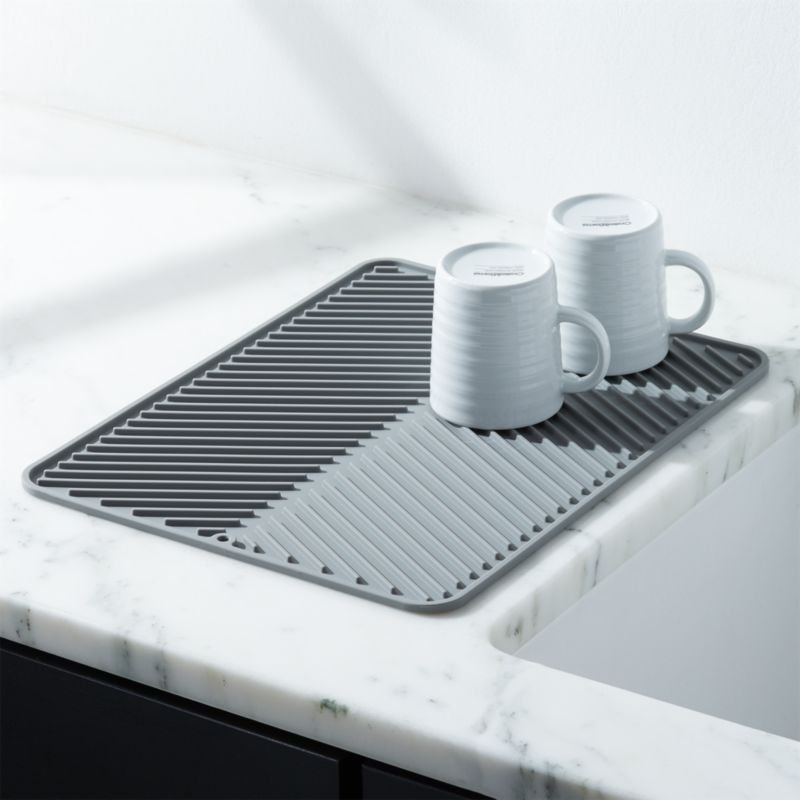 Shop Silicone Grey Dish Drying Mat Large And Delicate Items Dry Efficiently On This Special Silicone Dish Dr In 2020 Dish Drying Mat Dish Rack Drying Crate And Barrel