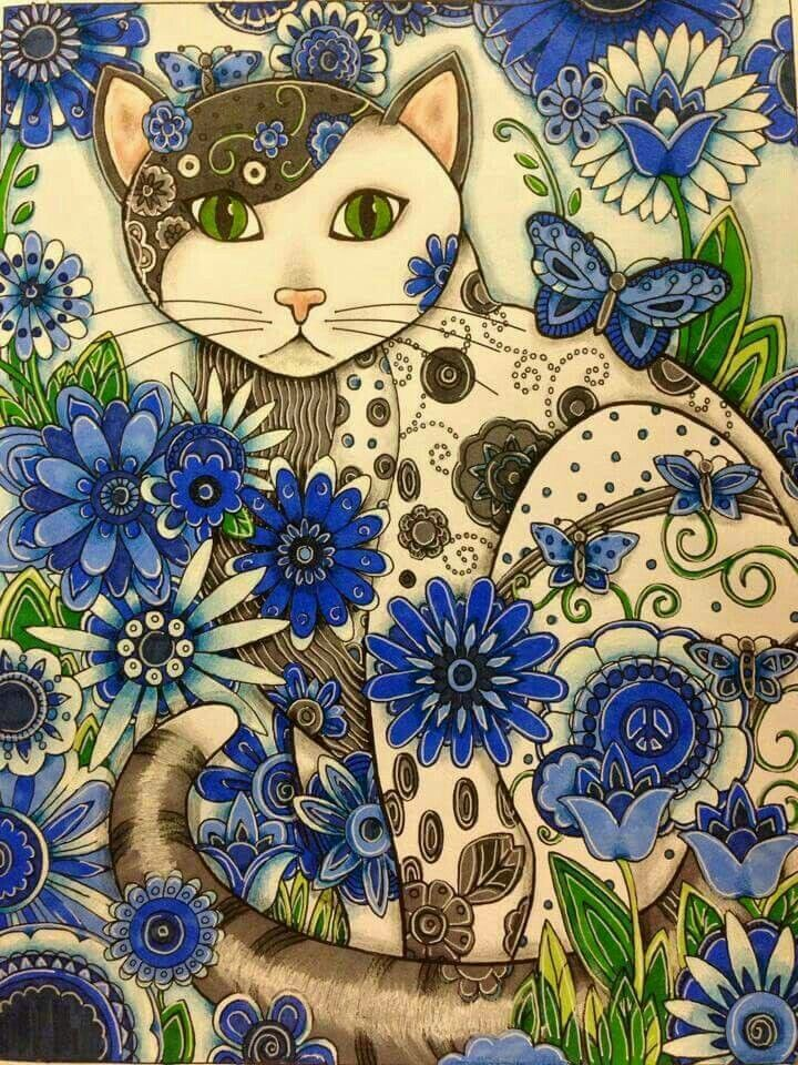 Adult Coloring Books Colouring Beautiful Cats A Tattoo Blue Flowers Cat Art Garden