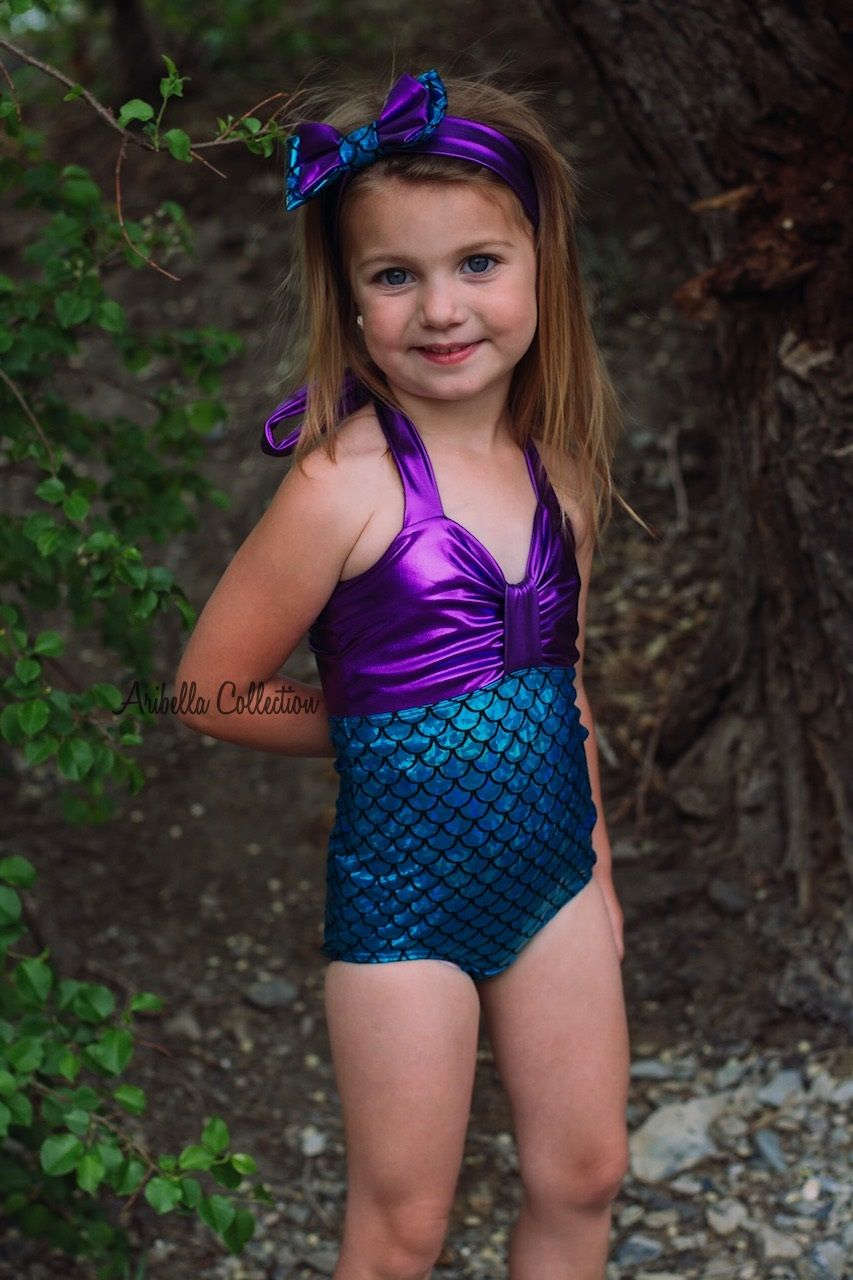 5a46d45f152d6 Mermaid Swimsuit, One Piece, Aqua Blue, Green, Girls, Baby, Toddler, Little  Mermaid, Bathing Suit, Birthday Party Outfit, Swimwear, Costume