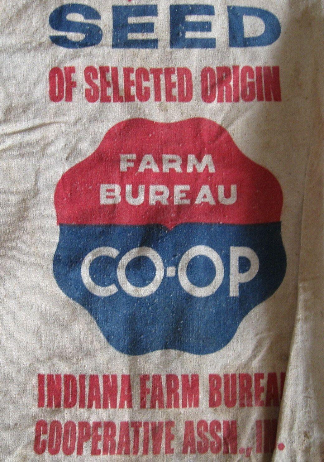 Vintage Farm Bureau Blue Red Seed Feed Sack Bag Sack. 12