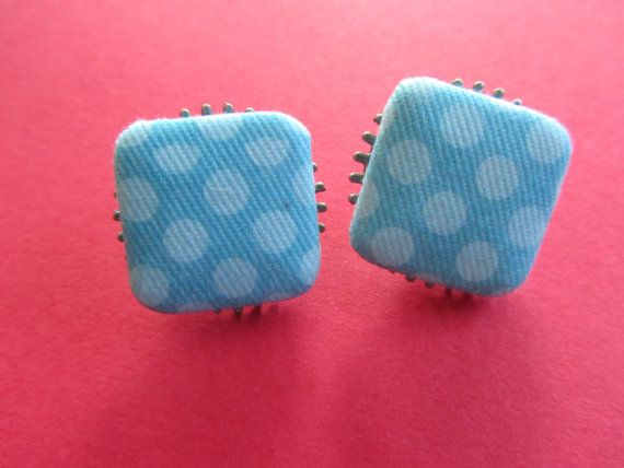 Blue Post Earrings Blue Square Earrings by BrownBeaverBeadery