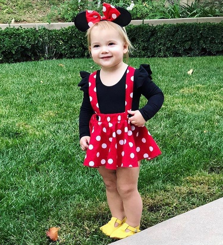 Minnie Mouse birthday outfit Red Pink polka dots criss cross suspenders circle SKIRT ONLY, with a matching hairbow, Baby infant toddler girl #minniemouse