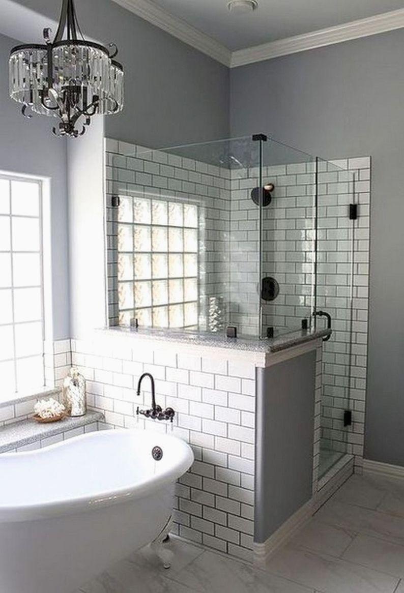 remodeling bathroom shower diy farmhouse chic in 2018 pinterest rh pinterest com diy bathroom shower storage bathroom shower displays