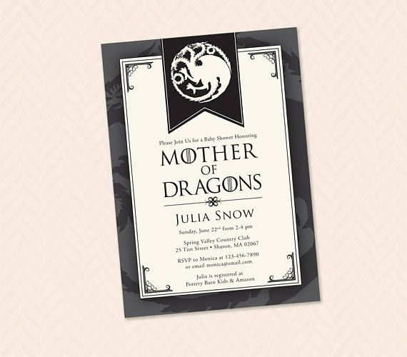 Mother Of Dragons Baby Shower Invitation Printable Game Of Etsy In 2020 Dragon Baby Shower Invitations Dragon Baby Shower Baby Shower Invitations
