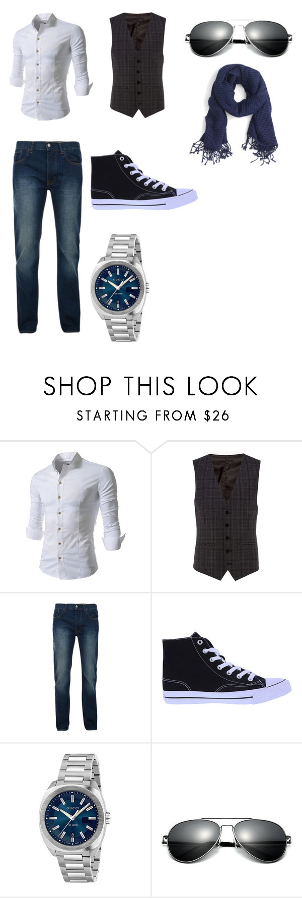 """""""Business Casual"""" by renee-pea on Polyvore featuring Kenneth Cole, Bellfield, Gucci, J.Crew, men's fashion and menswear"""
