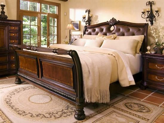 Amazing Villa Veneto Collection Sleigh Queen Bed Bedroom Furniture In Walnut Finish