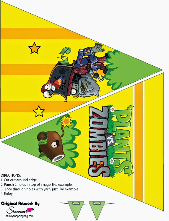 Plantas Vs Zombies Free Printable Bunting In 2020 Plants Vs Zombies Birthday Party Zombie Birthday Parties Zombie Party