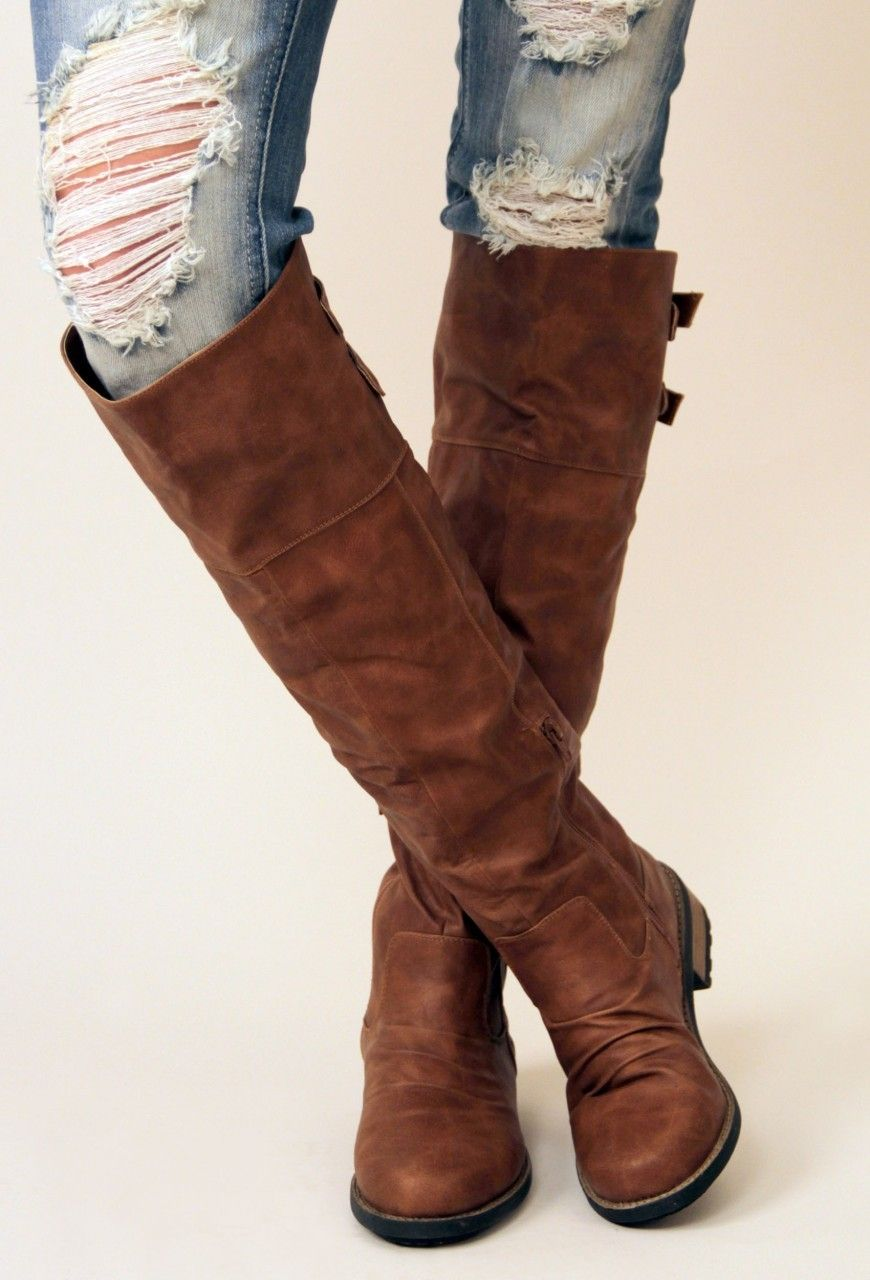 Brown Double Back Buckle Knee High Boots #fallfashion | s t y l e ...