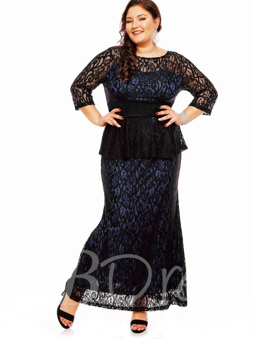 Blue Plus Size Lace Women\'s Maxi Dress - Tbdress.com ...