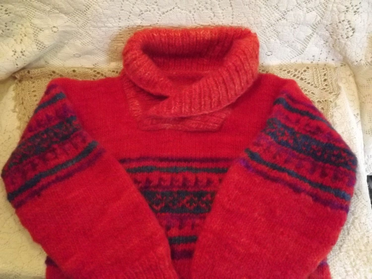 Children's Sweater Reddish Orange Cross-over Cowl Neck, Vintage Hand Made Skating Sweater - pinned by pin4etsy.com