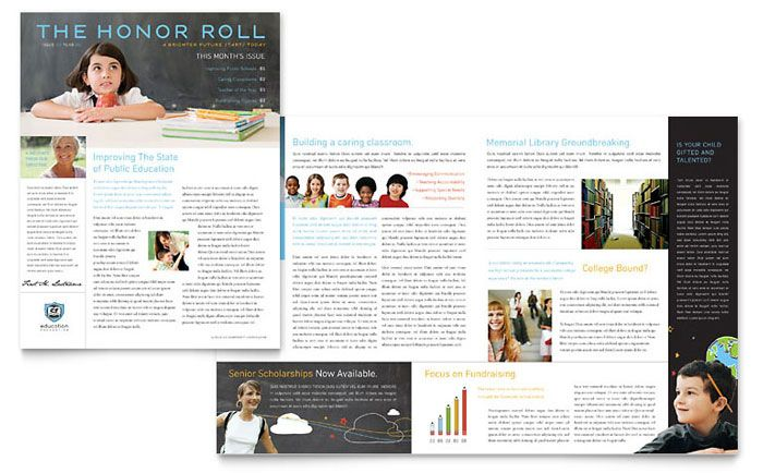 Education Foundation And School Newsletter Design Template By