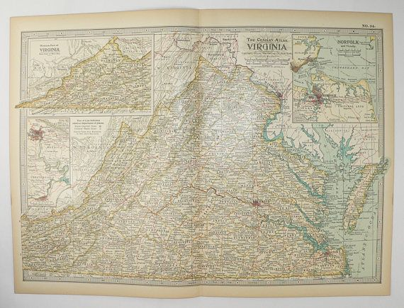 Vintage Virginia Map 1899 Century Map of Virginia, VA Map, Virginia ...