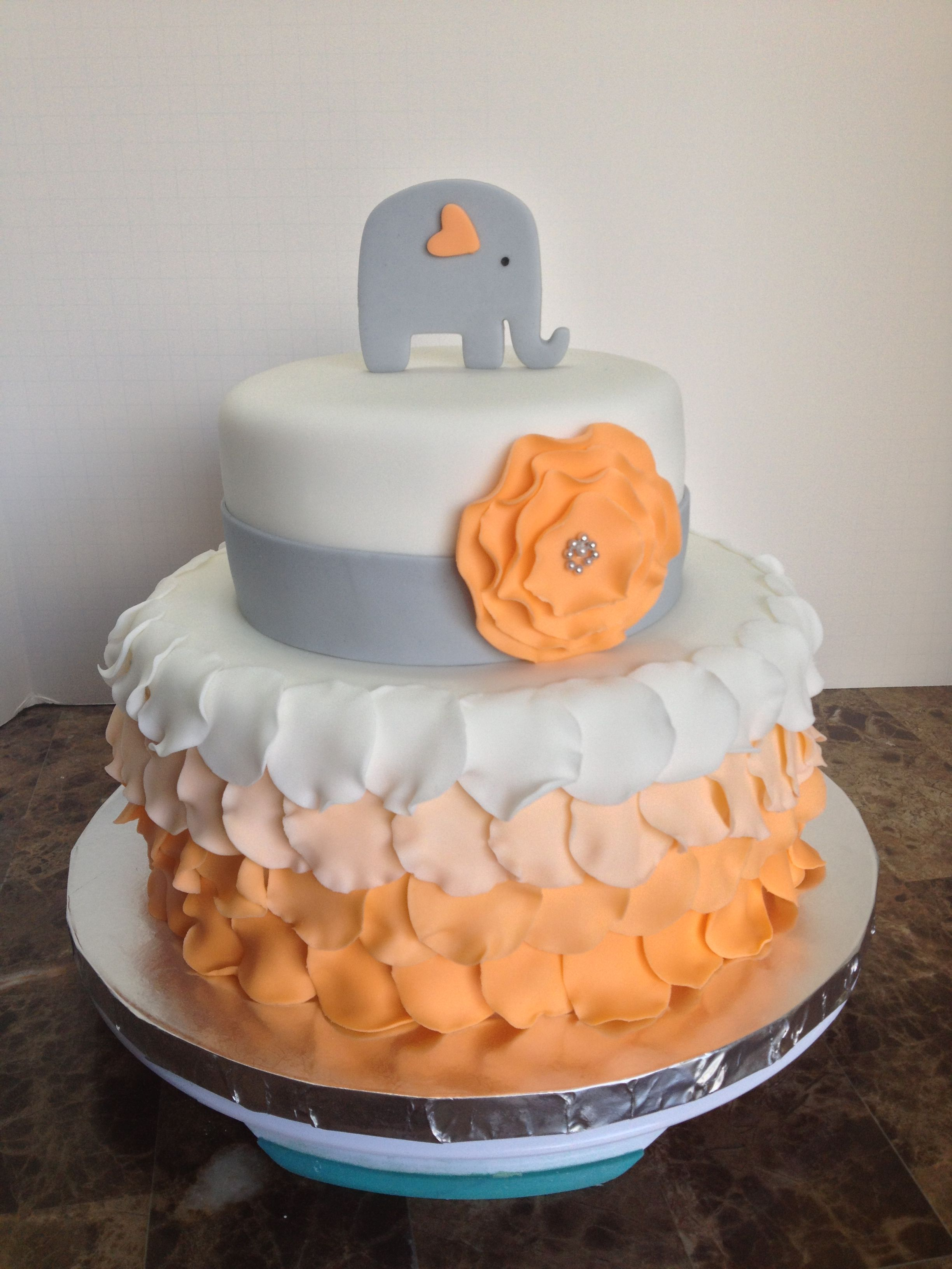 Orange Ombre Petal Cake W Elephant Topper And Ruffle Flower Baby