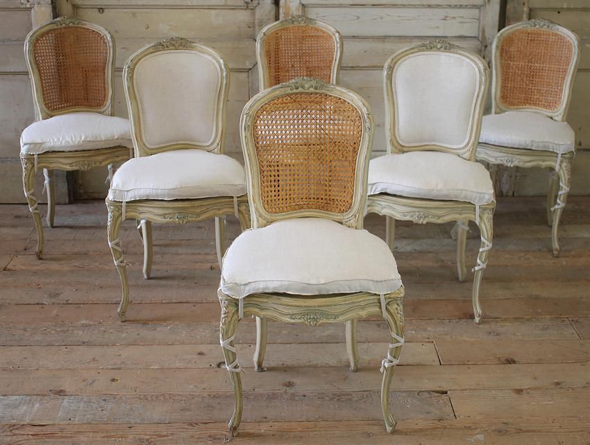Antique French Cane Back Dining Chairs With Slip Cover From Full Bloom Cottage