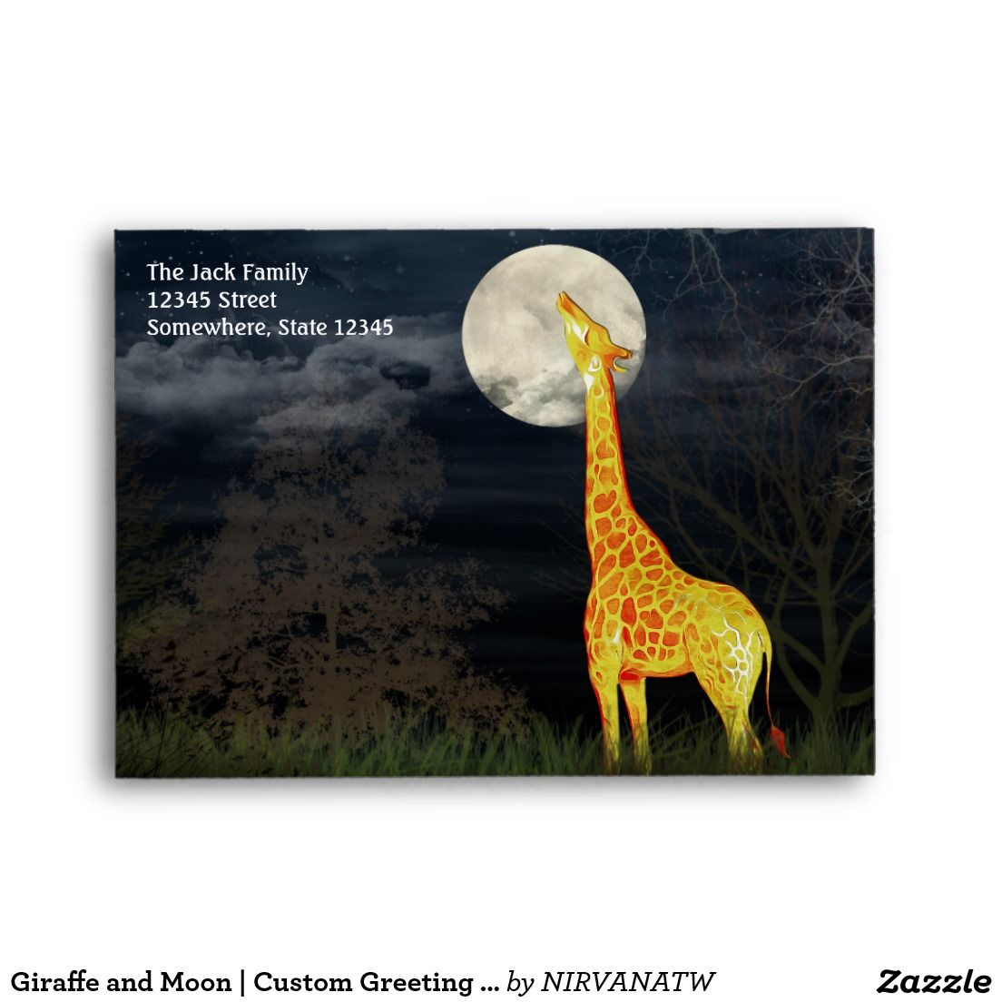 Giraffe and moon custom greeting card envelop a6 envelope custom greeting cards m4hsunfo