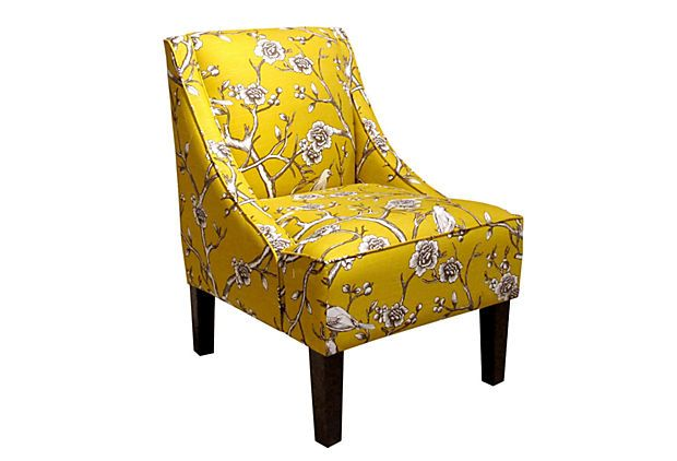 Quinn Swoop Arm Chair Marigold Brown Fabric Accent Chair Luxury Chairs Affordable Chair