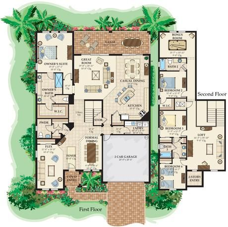 2-Story Mediterranean House Plan by South Florida Design Home