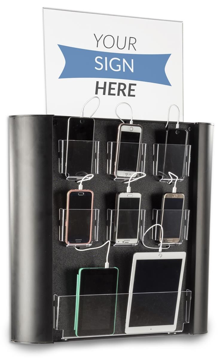Charging Kiosk for Wall, 8 Cables, Lightning & MicroUSB