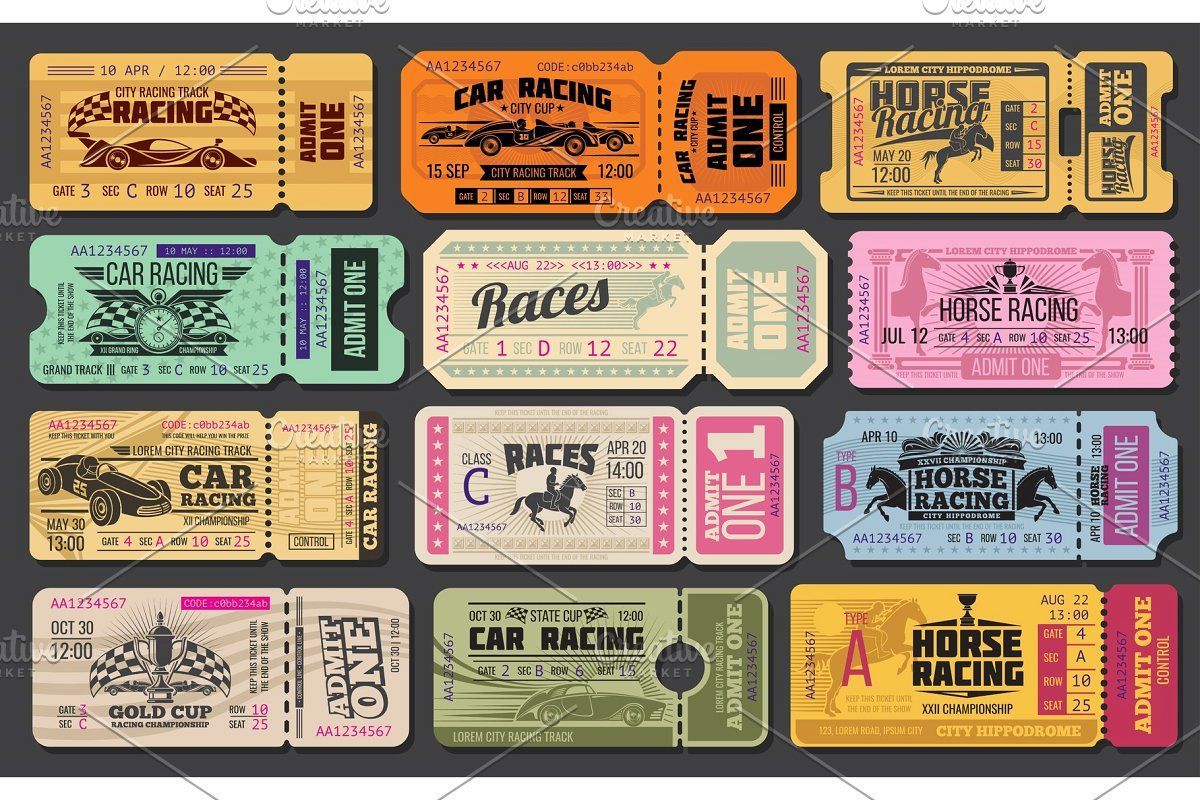 Car And Horse Racing Retro Tickets Horse Racing Ticket Design Racing