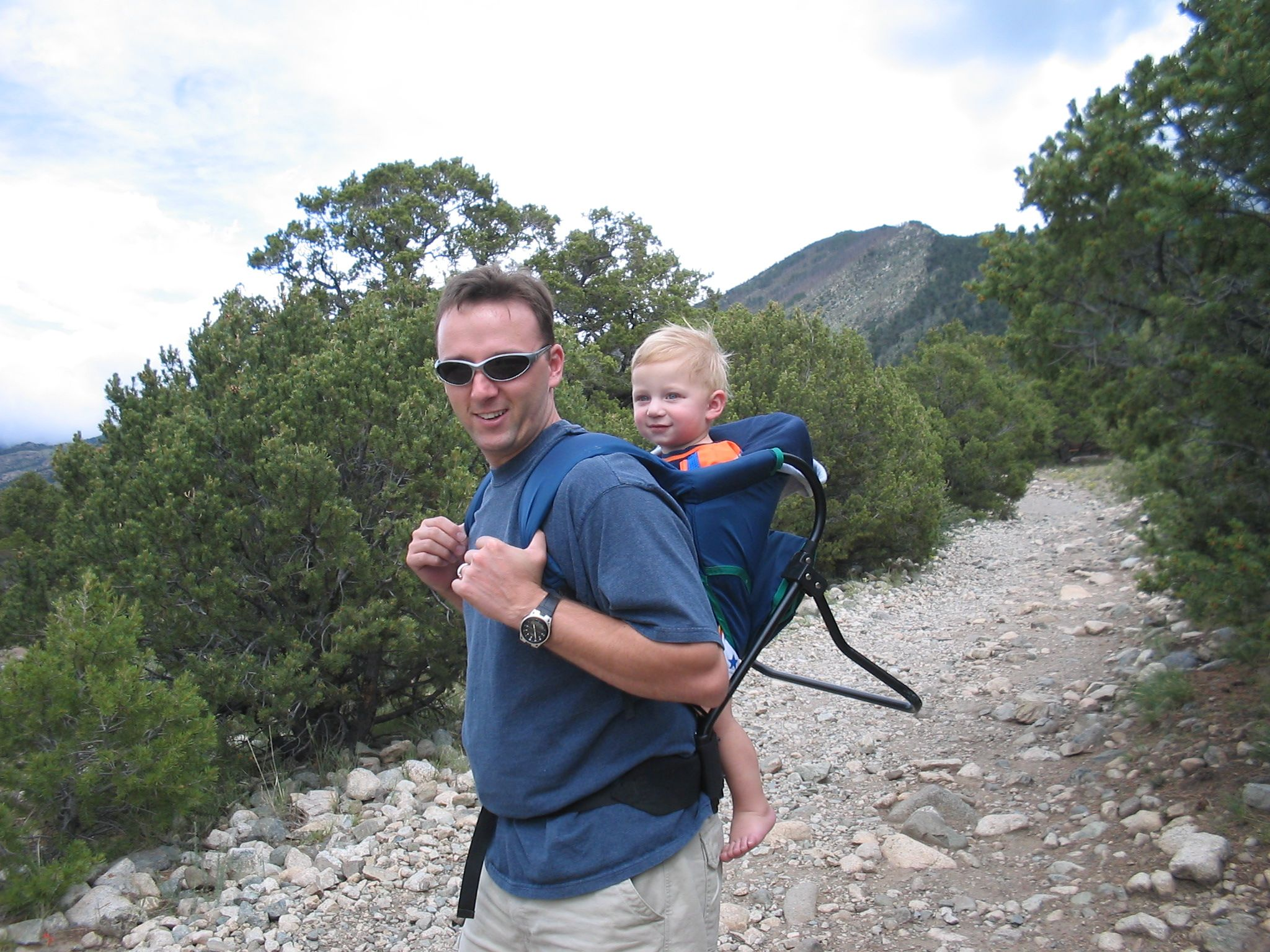 Evan and Dad hiking on our Colorado-New Mexico trip 2004