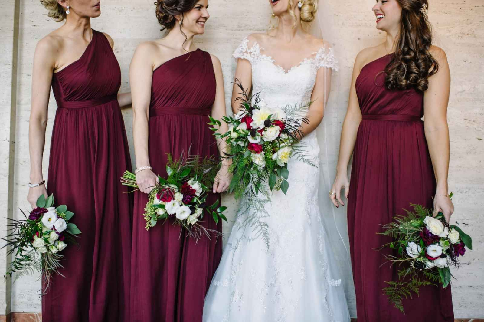 Burgundy bridesmaids dresses for winter wedding the wedding burgundy bridesmaids dresses for winter wedding the wedding story of nina and marc kieleszewski ombrellifo Images