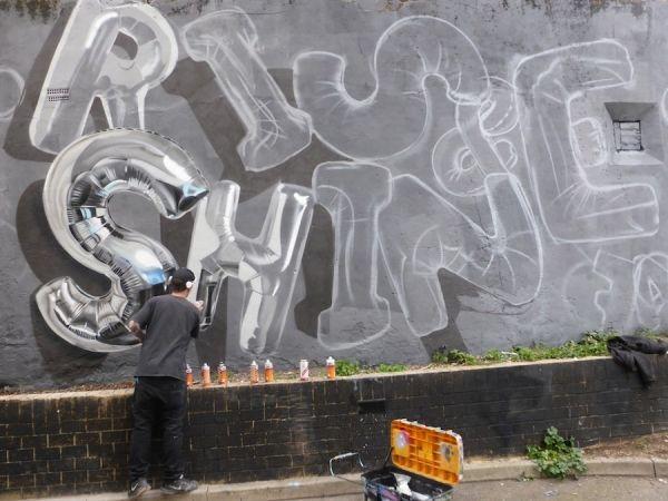 Shiny Street Art Lettering Blown Up Like Balloons Artist Graffiti Shiny Effect Spray Paint D Photo Realistic Craft Type
