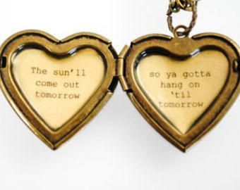 "Annie - Broadway Jewelry - Quote Locket - Womens Locket - ""Tomorrow"" - The sun'll come out tomorrow so ya gotta hang on 'til tomorrow"