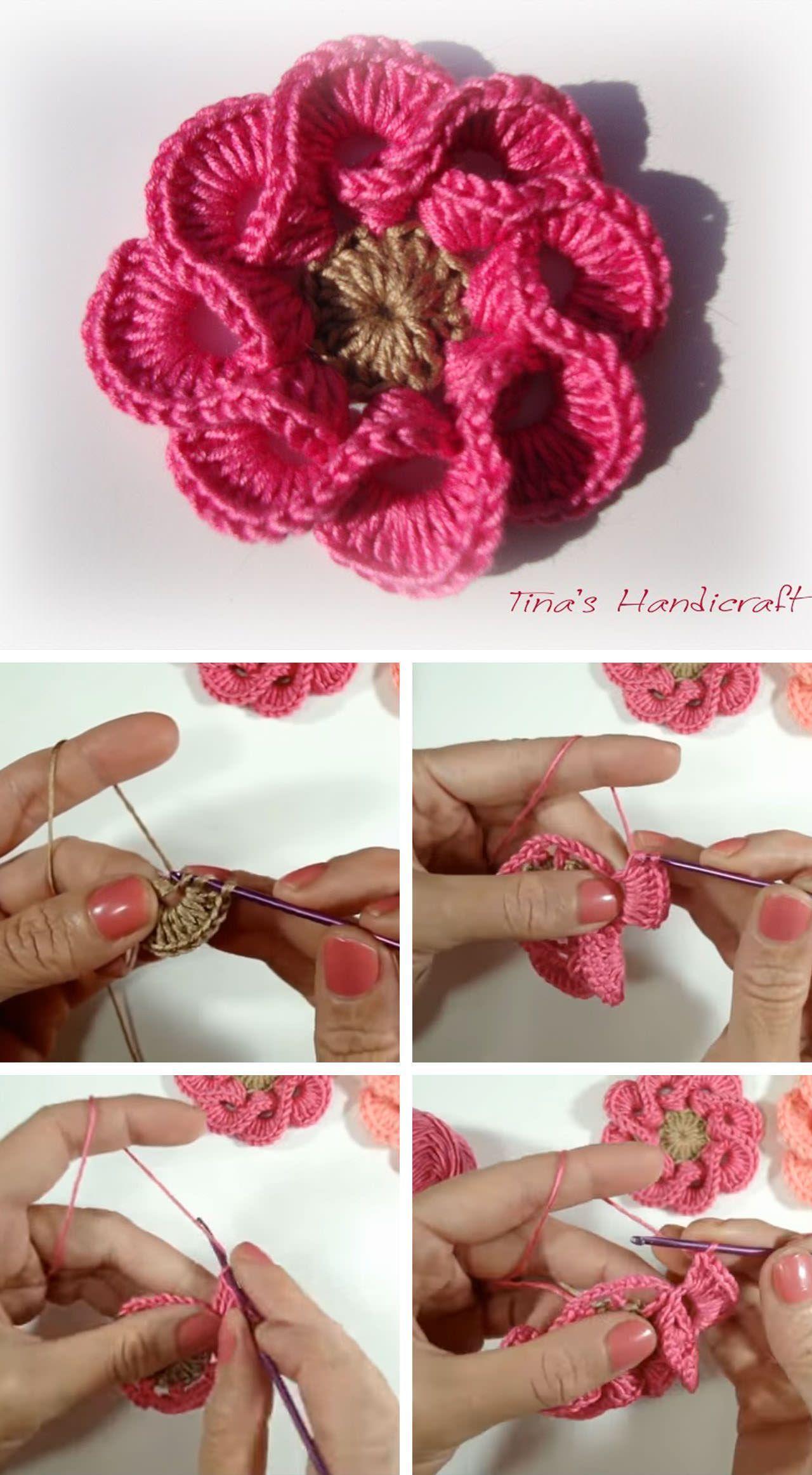 Easy Crochet 3D Flower You Need To Make - Stuff I'd Like to Crochet - #crochetedflowers