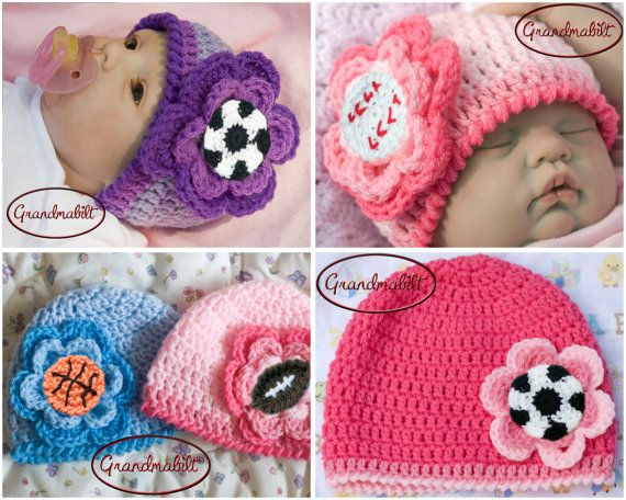 1a490218ff9 Baby Girl BASEBALL or BASKETBALL or FOOTBALL or Soccer Sports Hat Crocheted  Pinks Lavender Lilacs Blues Size Preemie