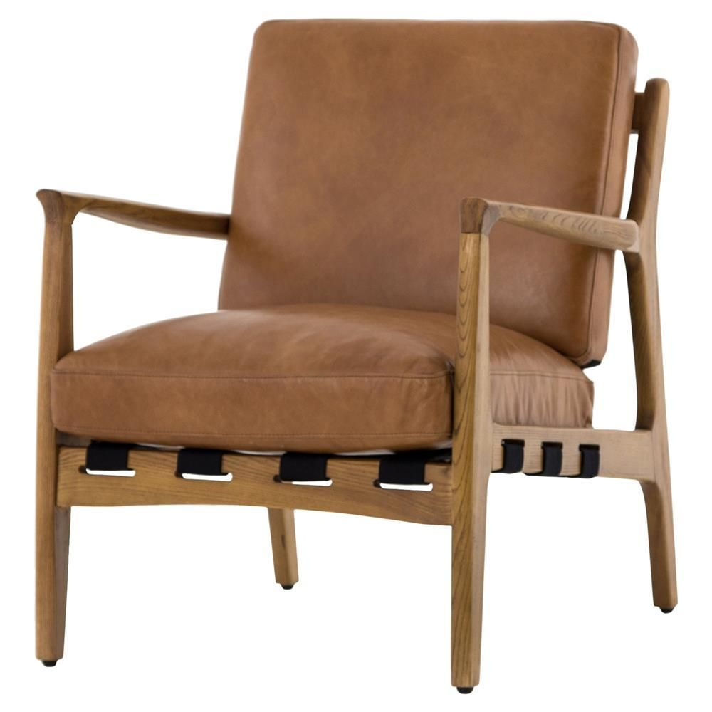 Silas Mid Century Modern Tan Leather Arm Chair Leather Armchair Leather Chair Tan Leather Cushion