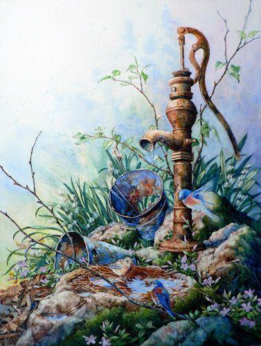 Morning Shower by Hanne Lore Koehler ~ watercolor still life ~ rustic water pump ~ bluebirds