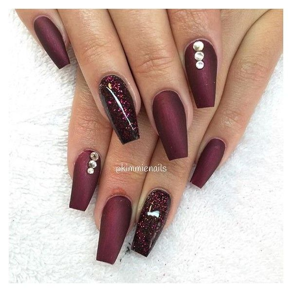 Coffin Nails Liked On Polyvore Featuring Beauty Products Nail Care Nail Treatments And Nails Prom Nails Cherry Nails Red Nails