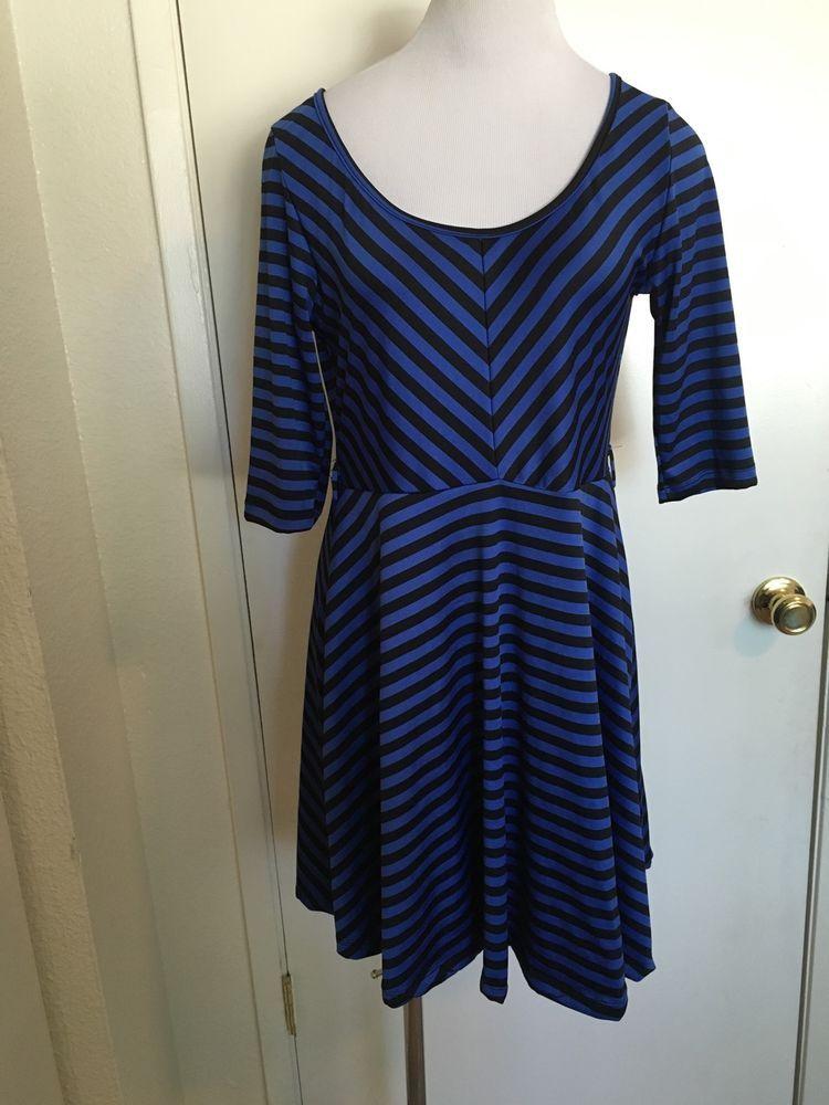 Womens Juniors Blue Striped Skater Dress Large #ShesCool #Skater #Casual