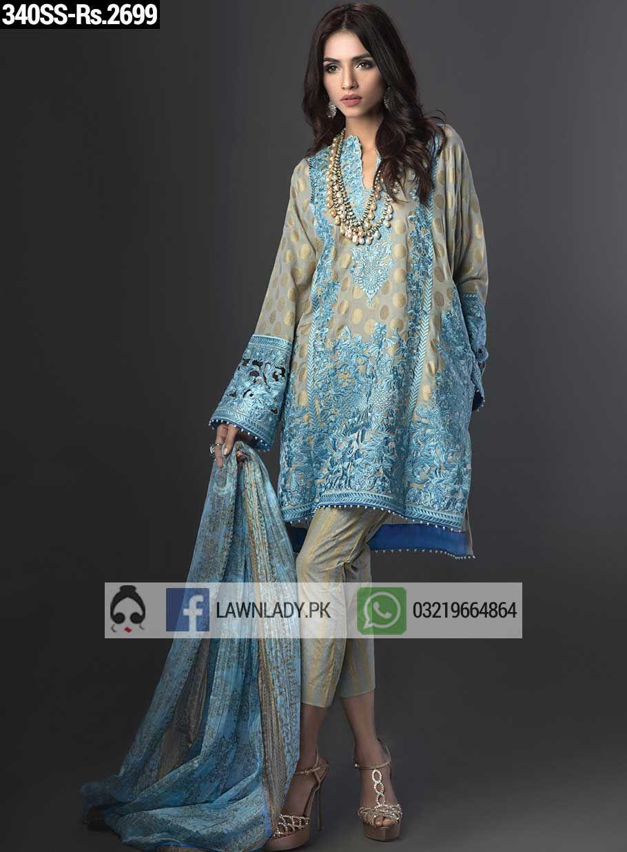 BUY Sana Safinaz Replica Lawn 2016 3Pcs Embroidered Lawn Suit Design ...