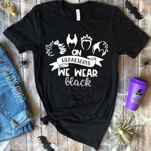 Walt Disney World Halloween T Shirts.On Wednesdays We Wear Black Villian Halloween T Shirt Products