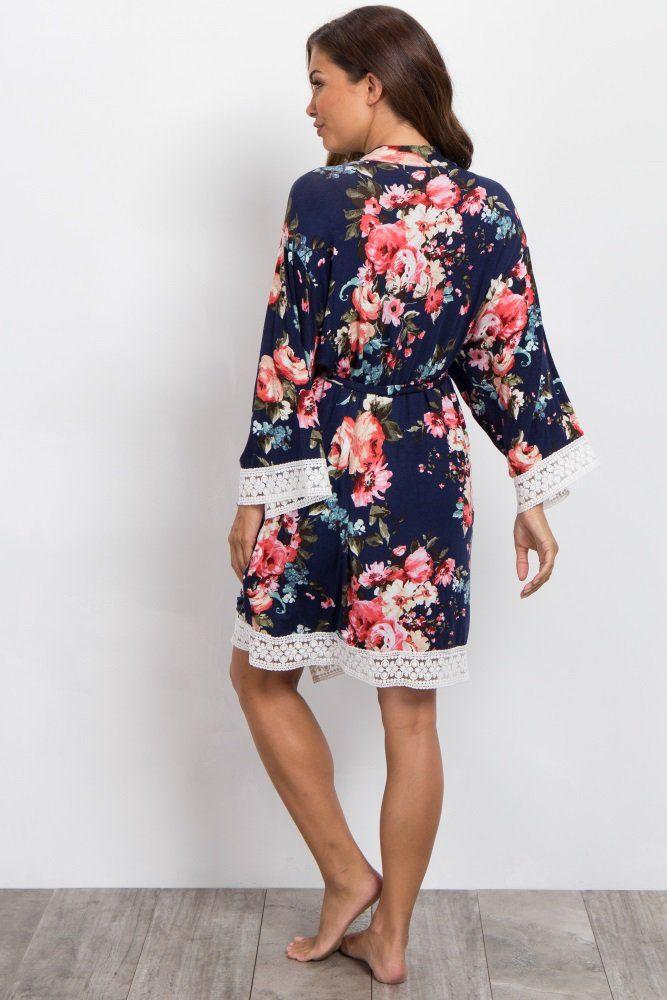 8959c0d256ec4 Navy Blue Floral Lace Trim Delivery/Nursing Maternity Robe   Lou ...