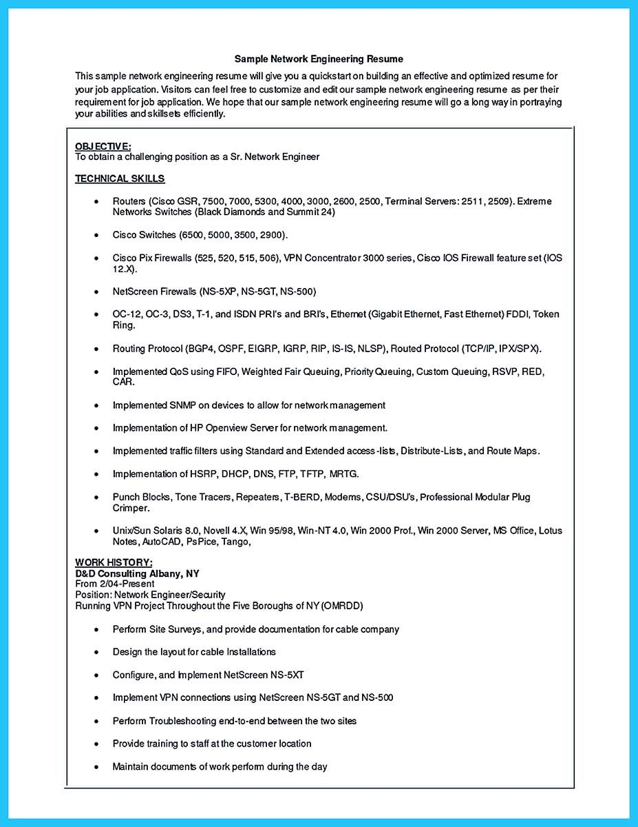 sample cable technician resume