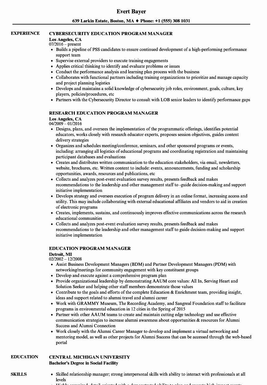 It Program Manager Resume Lovely Education Program Manager Resume Samples