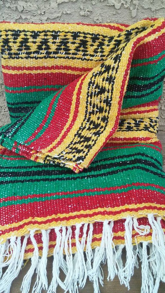 Vintage Bright Color Hand Woven Mexican by FemmeFatalFashion