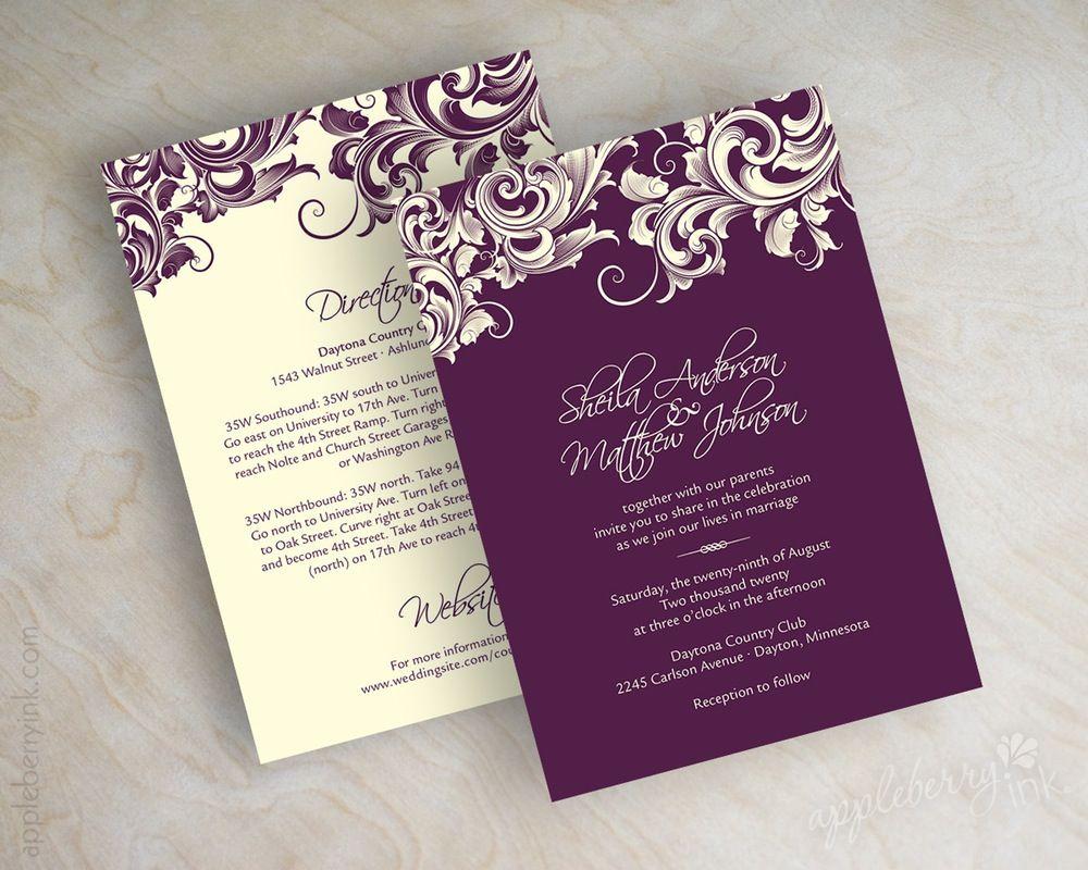 Image Of Jora Eggplant Purple Wedding Invitations