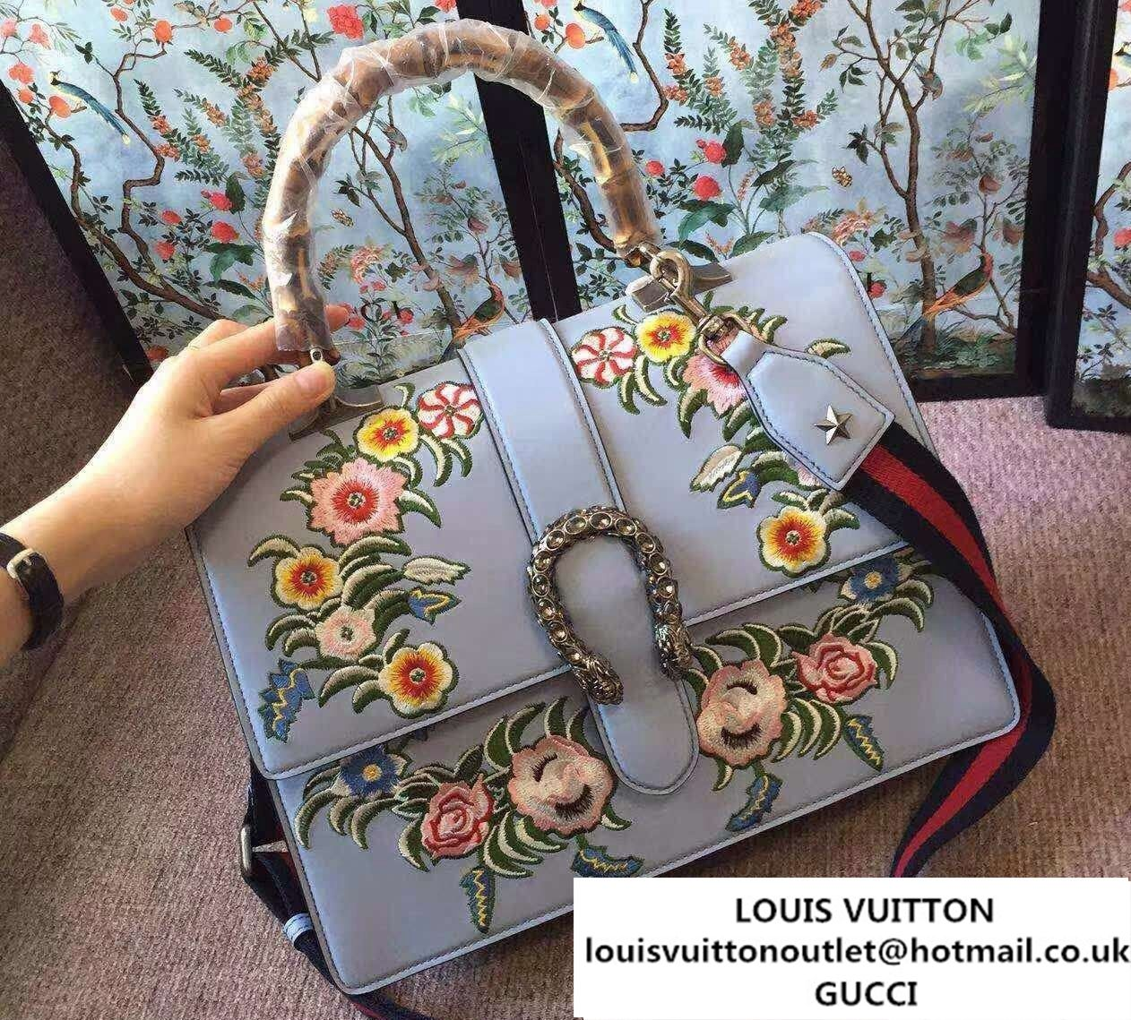 efabbd3c0c1 Gucci Dionysus Leather Embroidered Flowers Top Handle Large Bag 421999 2016