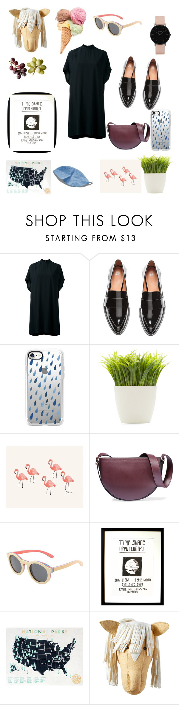 """Black"" by haanifah13 ❤ liked on Polyvore featuring Rick Owens, H&M, Casetify, Dot & Bo, Rifle Paper Co, Victoria Beckham, Triple Graces, Disney, Fiona Walker and Topshop"
