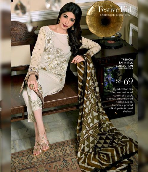 Gul Ahmed Trencia Satin Silk Festive Collection 2015 SS-69