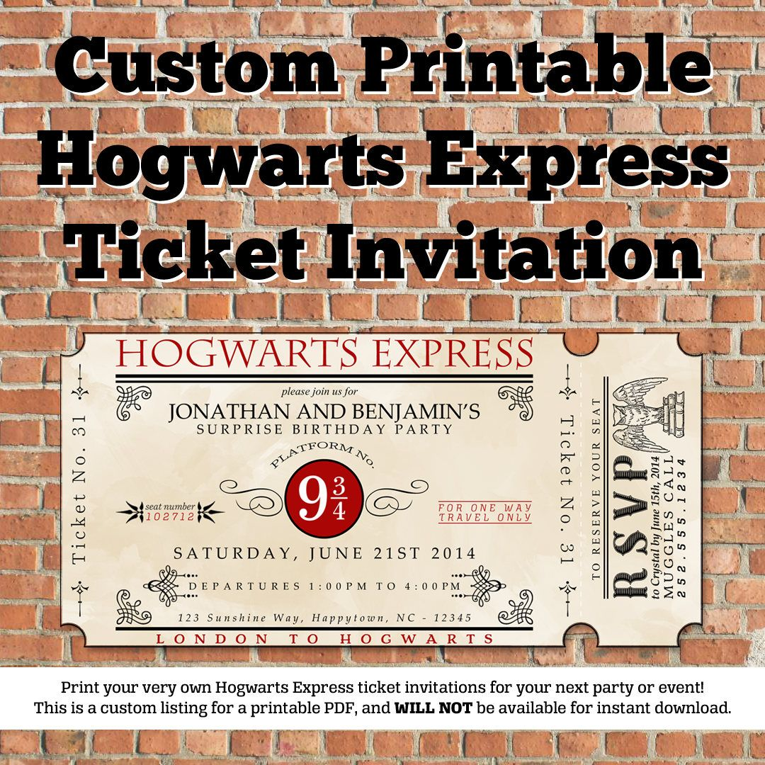 Custom Printable Hogwarts Express Ticket Invitation