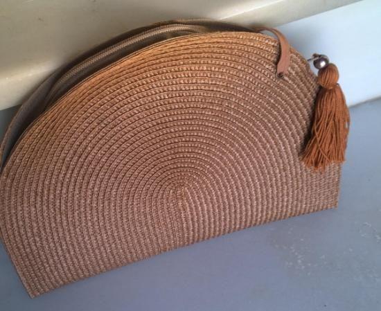 8b2a7c573 bolso-cartera de rafia con borla rafia cremallera cinta,hilo cosido,borla  hecha a mano