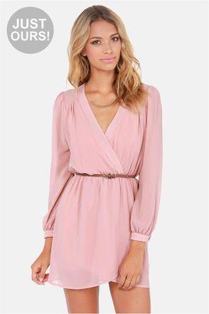 Exclusive Under Wraps Blush Pink Wrap Dress   Wrap dresses, Pink ...