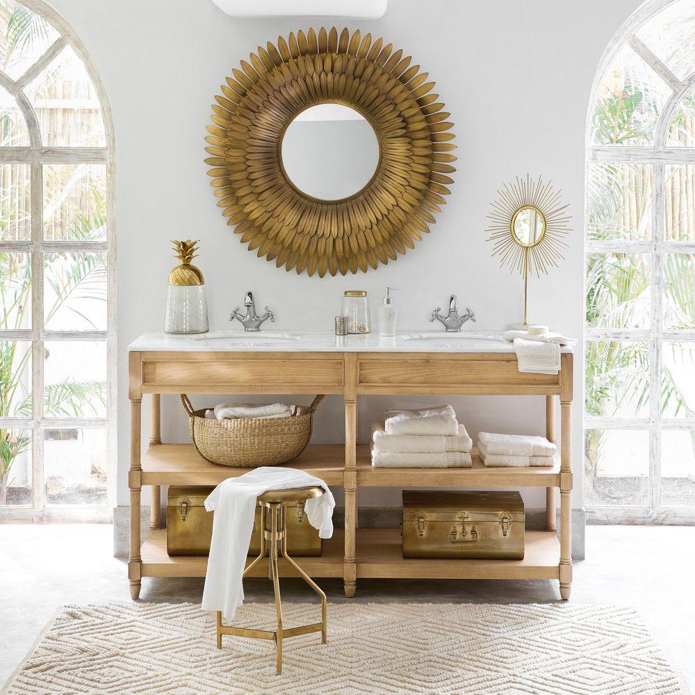 meuble double vasque en ch ne massif et marbre blanc maisons du monde le printemps de. Black Bedroom Furniture Sets. Home Design Ideas